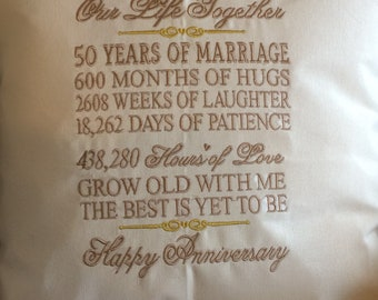 50th Wedding Anniversary embroidered throw pillow