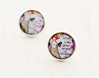 Girl Image Stud Earrings with Words, Inspirational Post Stud Earrings, Gift for Friend, Gift for Sister, Stud Earrings for Teen, Butterfly