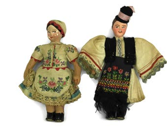Hungarian Souvenir Dolls in Traditional Clothing. Hungary Folk Costume Dress. Vintage Collectible Art Doll.