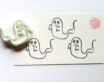 ghost rubber stamp | diy halloween card making | gift wrapping | craft gift for kids | hand carved by talktothesun