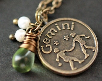 Gemini Necklace. Zodiac Necklace. Sun Sign Charm Necklace with Glass Teardrop and Pearls. Handmade Jewelry.
