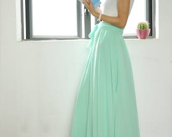 High Waist Maxi Skirt Chiffon Silk Skirts Beautiful Bow Tie Elastic Waist Summer Skirt Floor Length Long Skirt (037)