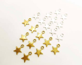 10 Antique Silver Or Antique Gold Star Charms - 21-59-1