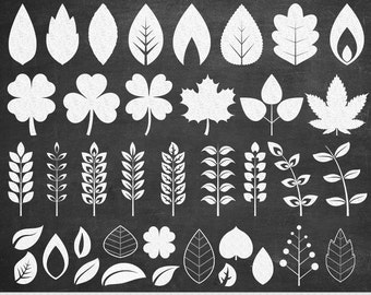 Chalkboard Leaves Clipart White Leaves Clip Art Vector Leaf Clipart Leaf Silhouette Scrapbooking Summer Spring Leaves Doodle Leaf