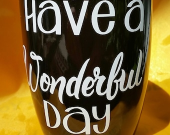 Have a Wonderful Day Coffee Mug with Middle Finger, Funny Office Gag gift, Coworker, Co-worker, boss, joke, naughty prank gift, secret santa