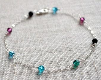 Dainty Crystal Bracelet, Sterling Silver, Peacock Colors, Black Purple Blue Emerald Green, Real Swarovski, Delicate Jewelry
