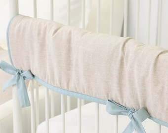 Dusty Blue & Linen Crib Rail Cover Crib Bedding Soft Blue Vintage Teething Guard | Dusty Blue, Linen Collection