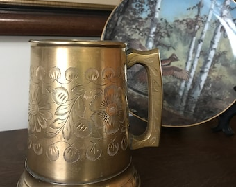 Vintage BRASS ETCHED TANKARD with Floral Design and Glass Bottom