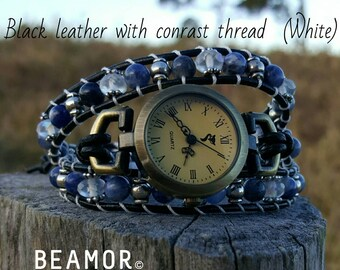 Sodalite triple leather wrap Watch