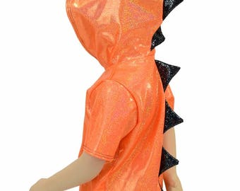 Childrens Orange Sparkly Jewel Short Sleeve Hoodie with Black Shattered Glass & Hood Liner Kids Sizes 2T 3T 4T and 5-12 - 155055
