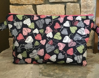 Knit Some Hearts Zippered Project Bag