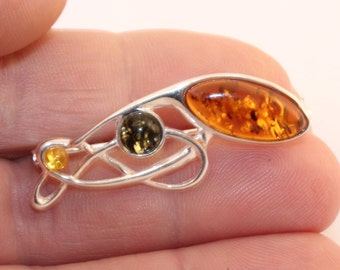 Silver Brooch Pin / Baltic Amber Brooch / Gift for Women/ Unique Gemstone Shawl Pin, Scarf Pin, Hat Pin/ Sweater Pin/ Fashion Accessory