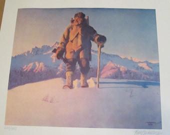 "Fred Machetanz ""Hunter's Dawn"" Limited Edition Alaskan Artist Lithograph / Eskimo Hunter / Alaska"