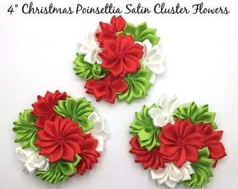 30% 1 Christmas Poinsettia Flower Red & Green Satin Cluster Flowers 4 Inch Size Flower.