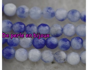 10pc - agate has facet blue, White Pearl 6mm bead semi precious gemstone 6mm seed
