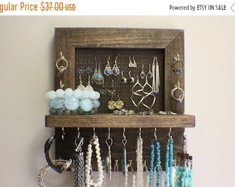 ON SALE Mini Kona Stained Wall Mounted Jewelry Organizer, Wall Organizer, Jewelry Display, Necklace Holder, Earring Organizer