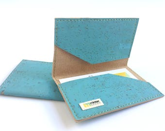 Cork business card case, sky blue cork fabric. Card case. Card holder. Stocking stuffer.