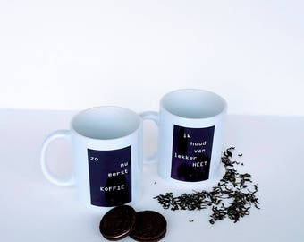 Mug with more ' so now first coffee ', cup with text