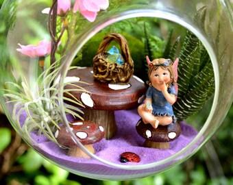 "Fairy Garden Terrarium Kit ~ 7"" Air Plant Terrarium Kit ~ Mushroom Table and Chairs ~ Faux Succulent ~ Basket of Gems ~ Little Fairy ~ Gift"