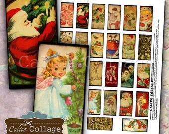Christmas Digital Collage Sheet 1x2 Domino Images Vintage Holidays for Pendants, Resin, Glass, Bezel Settings, Journalling, Scrapbooking