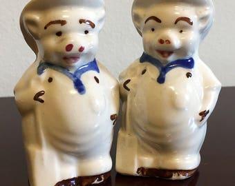 Vintage Pigs in Hats Salt & Pepper Shakers - Ceramic