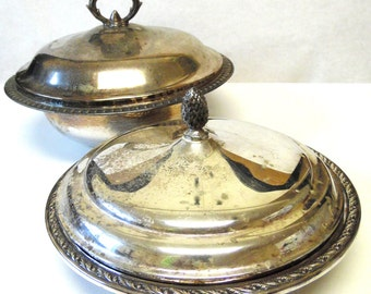 Domed Silver Plate Bowl Set of Two with Lids Leonard Wallace