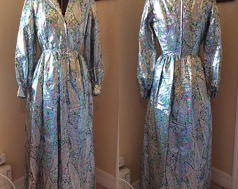 1960's Silver Metallic Feather Multi Color Floral Maxi Hostess Dress 'Futura Couture of New York'
