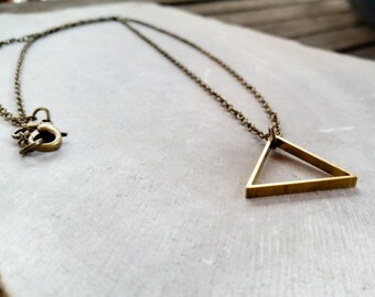 Vintage Brass Geometric Triangle Pendant Necklace – Rustic Modern Necklace - Men's + Women's Geometric Jewelry by Idle King
