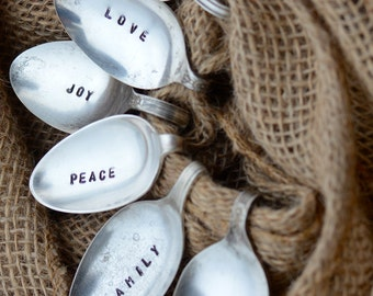 Silver Plate Hand Stamped Bent Spoon Napkin Rings- Perfect for the Holiday Table