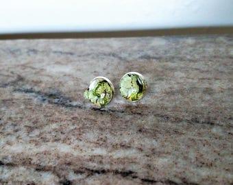 Lichen and moss stud earrings