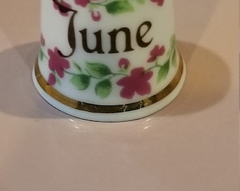 Fine Bone China Finsburg Decorative Collectible Thimble for Month of June