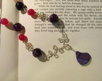 Item 0006 Dark Amethyst and Hot Pink Chainmaille Necklace