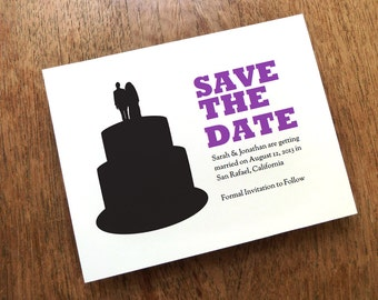 Printable Save the Date Card - Save the Date Template - Instant Download - Save the Date PDF - Wedding Cake Silhouette Save the Date - PDF