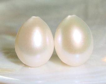 12-13x9-10mm, AAA Freshwater Pearl, Fresh Water Half Drilled Pearl, Teardrop Briolette, Drop Pearl Dangle,Lustrous Gorgeous White Pearls