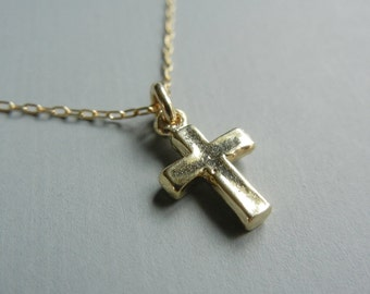 Tiny Cross Necklace (Gold)