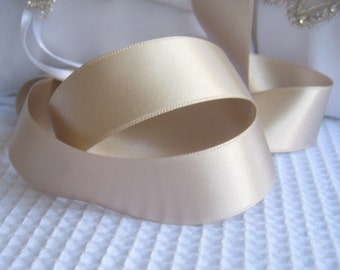 """Champagne Satin Ribbon Double Sided 1"""",  1.5"""",  2.25"""" High Quality Satin Weddings, Invitations, Sashes, Apparel, Headbands  By the Yard"""