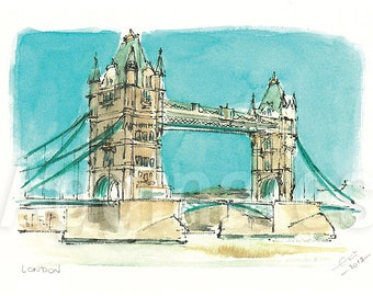 London UK / art print from an original watercolor painting