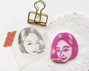portrait stamp. custom stamp. rubber stamp. hand carved stamp. mounted