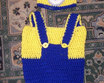 CUTE hand-crocheted Minion hat and cocoon set Newborn size