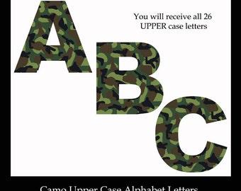 GREEN CAMO LETTER Clipart Alphabet abc Camouflage Digital Graphics Scrapbook Embellishment Scrapbooking Card Making Teacher School Clip Art