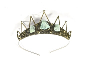 Cassandra Tiara with Raw Aventurine Stones - by Loschy Designs
