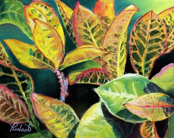 "Tropical Croton Plant Leaves - 8"" x 10"" Print of Original Pastel Painting"