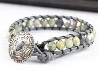 Moss Green Bracelet / Gray Wrap Bracelet / Leather Jewelry / Autumn Accessory / Gunmetal Jewelry / Gift for Her / Khaki Green / Woodland