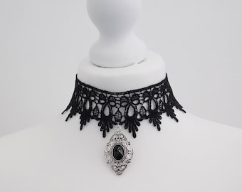 Gothic Guipure Black Lace Victorian Cameo Choker Burlesque