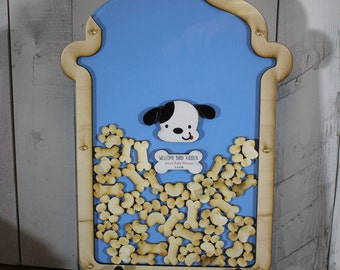 Baby Shower/Personalized Guest Book/Baby Shower Guest Book/Baby Bottle/Puppy/Dog Bone/Dog Paw Print/Medium Blue