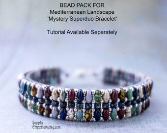 Mediterranean Landscape 'Mystery Superduo'  Beadweaving Bracelet Bead Pack BB22 - Tutorial Available Separately, BB-22 Bracelet