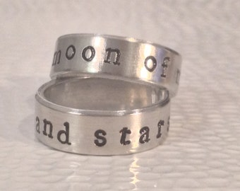 My Sun And Stars - Moon Of My Life - Pair of Game Of Thrones Inspired Rings