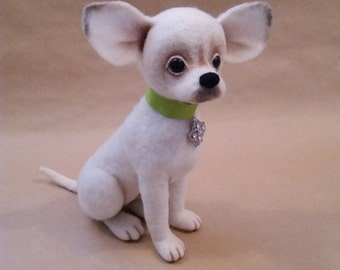 Maximus - Felted chihuahua, Needle felted dog, OOAK puppy, felted doggy, felted dog, felted toy, life size chihuahua