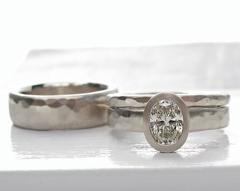 Hammered diamond engagement ring, oval diamond solitaire and hammered wedding bands, white gold and diamond wedding ring