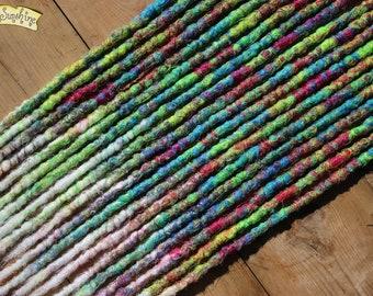 Tropical Freeze DE x10 Crochet Synthetic Dreads - pink green blue white
